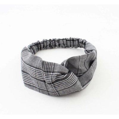 """Stirnband """"Pied de Poule"""" schwarz, doppelpack"""