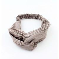 """Headband """"Pied de poule"""" brown, per 2pcs."""