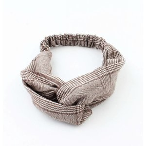 "Headband ""Pied de poule"" brown, per 2pcs."
