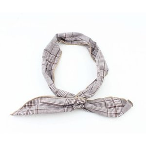 "Headband pinup ""Pied de poule"" brown, per 2pcs."