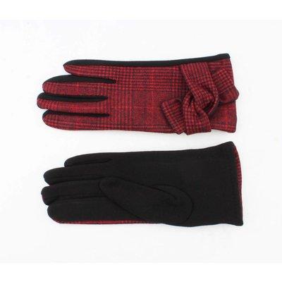 """Handshoenen """"Pied de poule"""" rood"""
