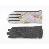 """Handshoenen """"Bloemen"""" grijs"""