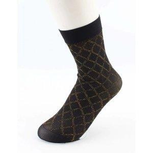 "Socken ""Lurex Gingham "" gold, pro 3 Paare"