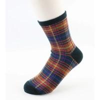 "Socks ""Gingham"" petrol/orange"