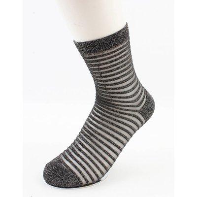 """Sokken """"Sylvana""""grijs/wit, per 2 paar"""