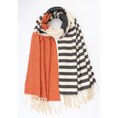 """Sjaal """"Rosey"""" oranje/grijs"""