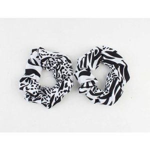 "Scrunchie ""Lina"" zwart/wit, per 2st."