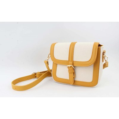 "Casual Crossbody ""Noah"" wit canvas/geel accent"