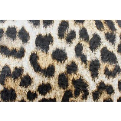 """Crossbody """"Lina"""" rond zwart/lichtbruin  luipaardprint"""