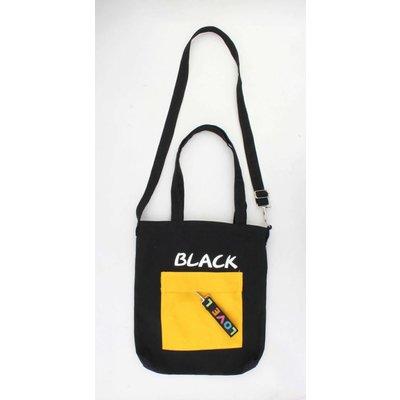 """Canvas tas """"Pebble"""" zwart met geel voorvakje"""