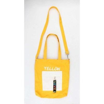 """Canvas tas """"Pebble"""" geel met wit voorvakje"""