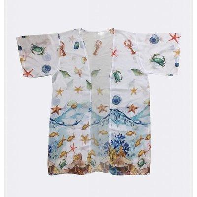 """Kimono """"Noor"""" wit met schelpen en zeedierenprint"""