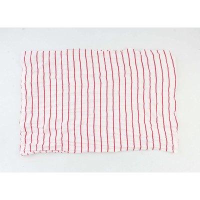 "Sjaal ""Velinga"" rood rechthoek trico gestreept"