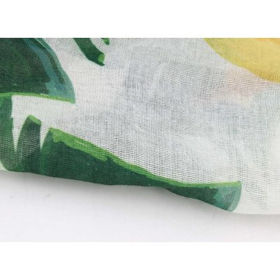 """Sjaal """"Oliva"""" groen/geel bladeren met bananenprint"""