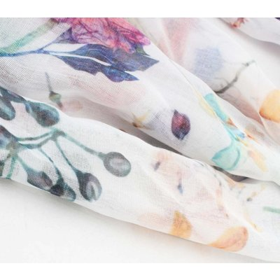 """Sjaal """"Ofra"""" multicolor rechthoek met bloemenprint"""