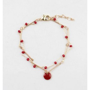 "Armband ""Teuntje"" rood/goud"