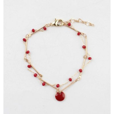 """Armband """"Teuntje"""" rood/goud"""