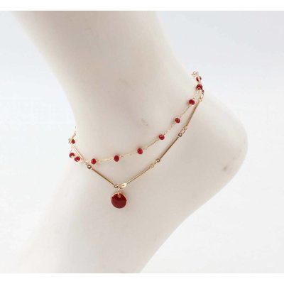 "Anklet  ""Teuntje"" red/gold"