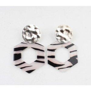 """Earring  """"Tiki"""" black/white silver"""