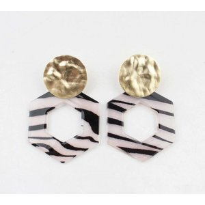 "Earring  ""Tiki"" black/white gold"