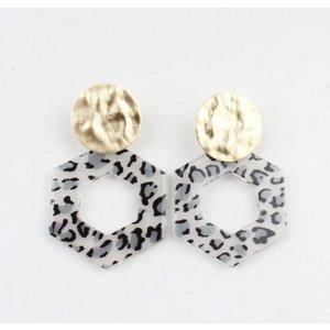 """Earring  """"Tiki"""" grey/gold"""
