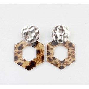 "Earring  ""Tiki"" taupe/silver"