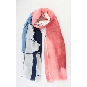 """Sjaal """"Vinthe"""" blauw/rood"""