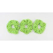 Scrunchie light green with black dots, per 3pcs.