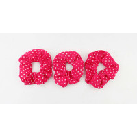 Scrunchie red with black dots, per 3pcs.