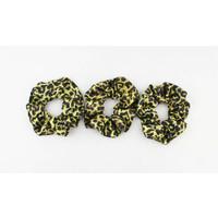 Scrunchie tijgerprint geel, per 3st.