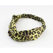Headband tiger print yellow, per 2pcs.