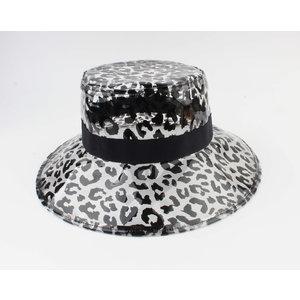 "Croche hoed ""Hassa"" zwart/wit"