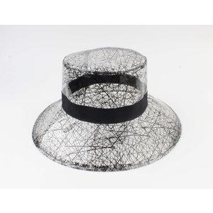 """Croche hoed """"Gribe"""" zwart/wit"""