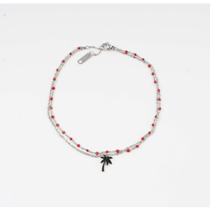 "Anklets ""Taleh"" red / silver"