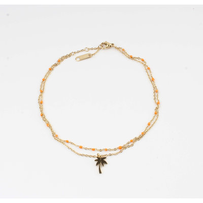 "Anklets ""Taleh"" orange / gold"