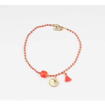 """Anklets """"Eyl"""" red / gold"""