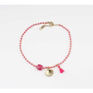 """Anklets """"Eyl"""" pink / gold"""