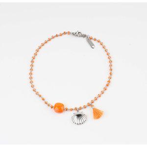 "Enkelbandjes ""Eyl"" oranje/zilver"