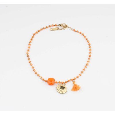 """Anklets """"Eyl"""" orange / gold"""