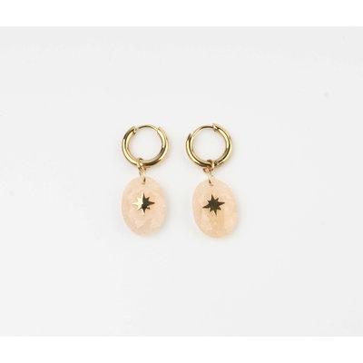 """Earring """"Domo"""" beige / gold"""