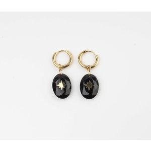 """Earring """"Domo"""" black / gold"""
