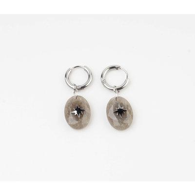 "Earring ""Domo"" grey / silver"