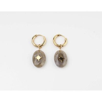 "Earring ""Domo"" grey / gold"
