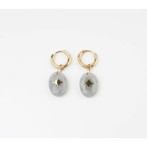 "Earring ""Domo"" light grey / gold"
