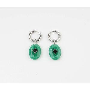 "Earring ""Domo"" green / silver"