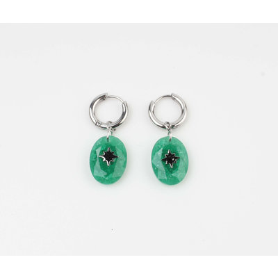 "Earring ""Domo"" green / silver"