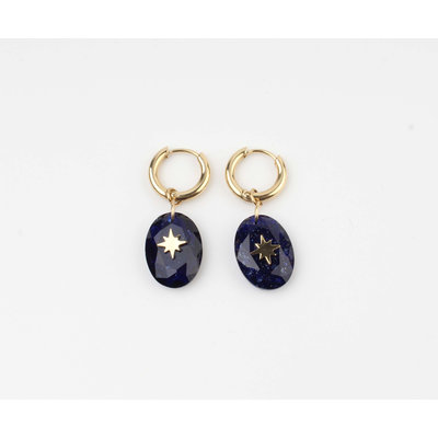 "Earring ""Domo"" blue / gold"