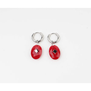 "Earring ""Domo"" red / silver"