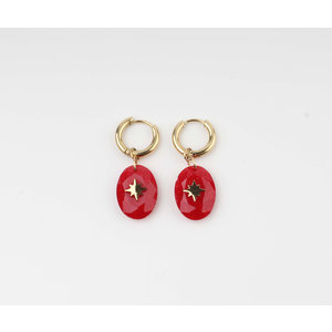 "Earring ""Domo"" red / gold"