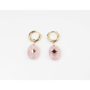 "Earring ""Domo"" pink / gold"